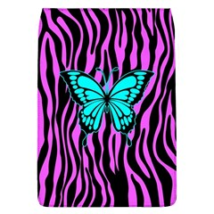 Zebra Stripes Black Pink   Butterfly Turquoise Flap Covers (l)  by EDDArt