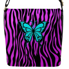 Zebra Stripes Black Pink   Butterfly Turquoise Flap Messenger Bag (s) by EDDArt