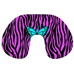 Zebra Stripes Black Pink   Butterfly Turquoise Travel Neck Pillows by EDDArt