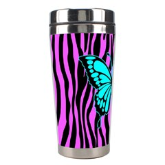 Zebra Stripes Black Pink   Butterfly Turquoise Stainless Steel Travel Tumblers by EDDArt