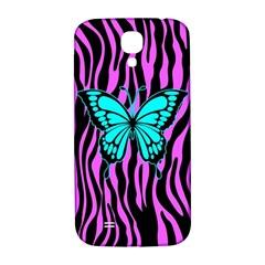 Zebra Stripes Black Pink   Butterfly Turquoise Samsung Galaxy S4 I9500/i9505  Hardshell Back Case by EDDArt