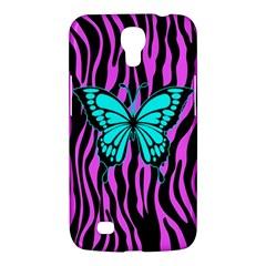 Zebra Stripes Black Pink   Butterfly Turquoise Samsung Galaxy Mega 6 3  I9200 Hardshell Case by EDDArt