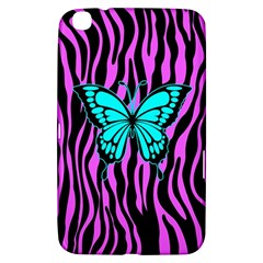 Zebra Stripes Black Pink   Butterfly Turquoise Samsung Galaxy Tab 3 (8 ) T3100 Hardshell Case  by EDDArt