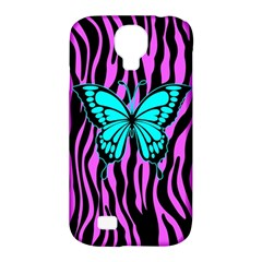 Zebra Stripes Black Pink   Butterfly Turquoise Samsung Galaxy S4 Classic Hardshell Case (pc+silicone) by EDDArt