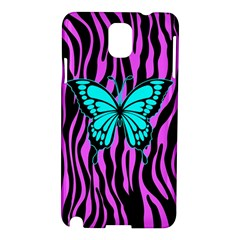 Zebra Stripes Black Pink   Butterfly Turquoise Samsung Galaxy Note 3 N9005 Hardshell Case by EDDArt
