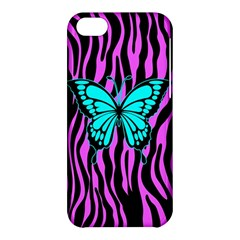 Zebra Stripes Black Pink   Butterfly Turquoise Apple Iphone 5c Hardshell Case by EDDArt
