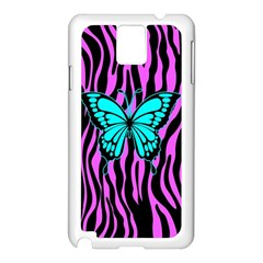 Zebra Stripes Black Pink   Butterfly Turquoise Samsung Galaxy Note 3 N9005 Case (white) by EDDArt