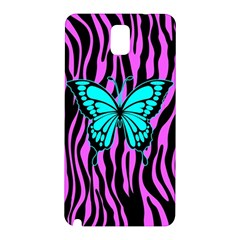 Zebra Stripes Black Pink   Butterfly Turquoise Samsung Galaxy Note 3 N9005 Hardshell Back Case by EDDArt