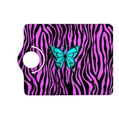 Zebra Stripes Black Pink   Butterfly Turquoise Kindle Fire Hd (2013) Flip 360 Case by EDDArt