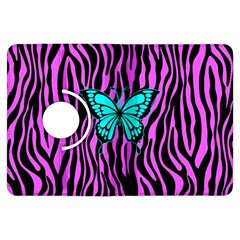 Zebra Stripes Black Pink   Butterfly Turquoise Kindle Fire Hdx Flip 360 Case by EDDArt