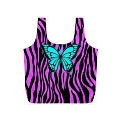 Zebra Stripes Black Pink   Butterfly Turquoise Full Print Recycle Bags (s)  by EDDArt