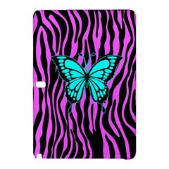 Zebra Stripes Black Pink   Butterfly Turquoise Samsung Galaxy Tab Pro 12 2 Hardshell Case by EDDArt