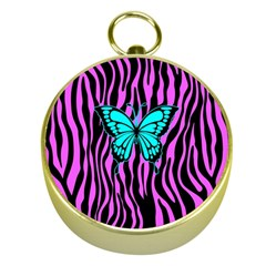 Zebra Stripes Black Pink   Butterfly Turquoise Gold Compasses by EDDArt