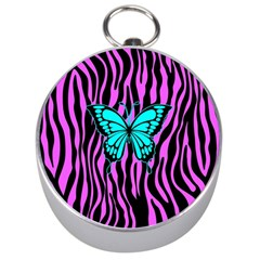 Zebra Stripes Black Pink   Butterfly Turquoise Silver Compasses by EDDArt