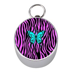 Zebra Stripes Black Pink   Butterfly Turquoise Mini Silver Compasses by EDDArt