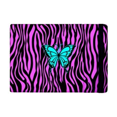 Zebra Stripes Black Pink   Butterfly Turquoise Ipad Mini 2 Flip Cases by EDDArt