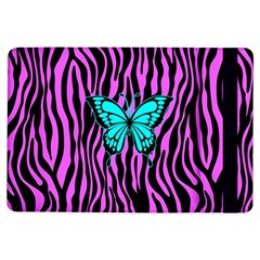 Zebra Stripes Black Pink   Butterfly Turquoise Ipad Air Flip by EDDArt