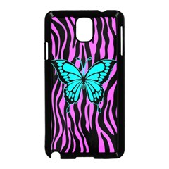 Zebra Stripes Black Pink   Butterfly Turquoise Samsung Galaxy Note 3 Neo Hardshell Case (black) by EDDArt