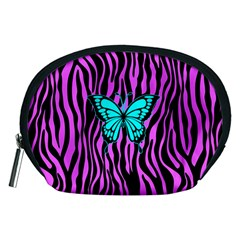 Zebra Stripes Black Pink   Butterfly Turquoise Accessory Pouches (medium)  by EDDArt