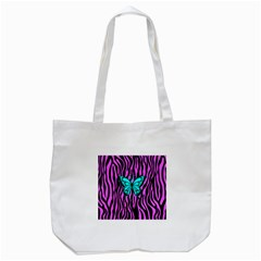 Zebra Stripes Black Pink   Butterfly Turquoise Tote Bag (white) by EDDArt