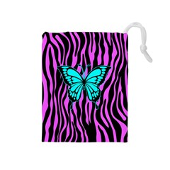 Zebra Stripes Black Pink   Butterfly Turquoise Drawstring Pouches (medium)  by EDDArt