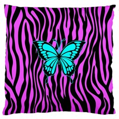 Zebra Stripes Black Pink   Butterfly Turquoise Large Flano Cushion Case (two Sides) by EDDArt