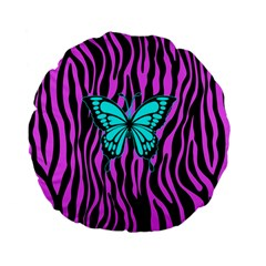 Zebra Stripes Black Pink   Butterfly Turquoise Standard 15  Premium Flano Round Cushions by EDDArt