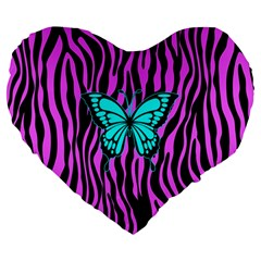 Zebra Stripes Black Pink   Butterfly Turquoise Large 19  Premium Flano Heart Shape Cushions by EDDArt