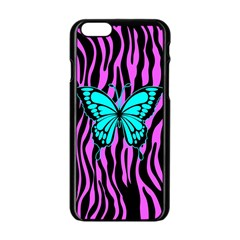 Zebra Stripes Black Pink   Butterfly Turquoise Apple Iphone 6/6s Black Enamel Case by EDDArt