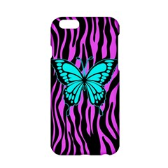 Zebra Stripes Black Pink   Butterfly Turquoise Apple Iphone 6/6s Hardshell Case by EDDArt