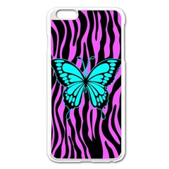 Zebra Stripes Black Pink   Butterfly Turquoise Apple Iphone 6 Plus/6s Plus Enamel White Case by EDDArt
