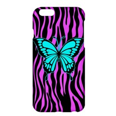 Zebra Stripes Black Pink   Butterfly Turquoise Apple Iphone 6 Plus/6s Plus Hardshell Case by EDDArt