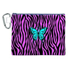 Zebra Stripes Black Pink   Butterfly Turquoise Canvas Cosmetic Bag (xxl) by EDDArt