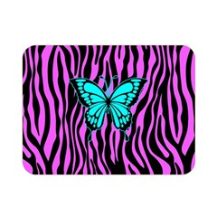 Zebra Stripes Black Pink   Butterfly Turquoise Double Sided Flano Blanket (mini)  by EDDArt