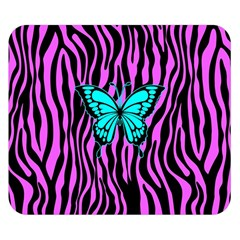 Zebra Stripes Black Pink   Butterfly Turquoise Double Sided Flano Blanket (small)  by EDDArt