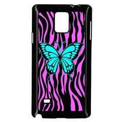 Zebra Stripes Black Pink   Butterfly Turquoise Samsung Galaxy Note 4 Case (black) by EDDArt