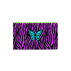 Zebra Stripes Black Pink   Butterfly Turquoise Cosmetic Bag (xs) by EDDArt
