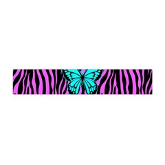 Zebra Stripes Black Pink   Butterfly Turquoise Flano Scarf (mini) by EDDArt
