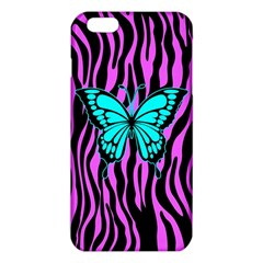Zebra Stripes Black Pink   Butterfly Turquoise Iphone 6 Plus/6s Plus Tpu Case by EDDArt
