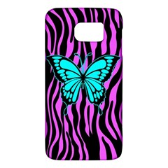 Zebra Stripes Black Pink   Butterfly Turquoise Galaxy S6 by EDDArt