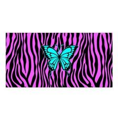 Zebra Stripes Black Pink   Butterfly Turquoise Satin Shawl by EDDArt
