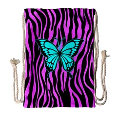 Zebra Stripes Black Pink   Butterfly Turquoise Drawstring Bag (large) by EDDArt