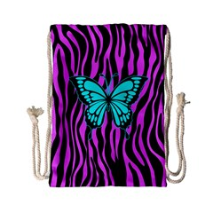 Zebra Stripes Black Pink   Butterfly Turquoise Drawstring Bag (small) by EDDArt