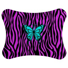 Zebra Stripes Black Pink   Butterfly Turquoise Jigsaw Puzzle Photo Stand (bow) by EDDArt