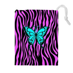 Zebra Stripes Black Pink   Butterfly Turquoise Drawstring Pouches (extra Large) by EDDArt