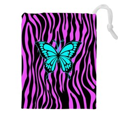 Zebra Stripes Black Pink   Butterfly Turquoise Drawstring Pouches (xxl) by EDDArt