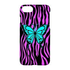 Zebra Stripes Black Pink   Butterfly Turquoise Apple Iphone 7 Hardshell Case by EDDArt