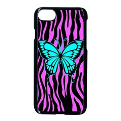 Zebra Stripes Black Pink   Butterfly Turquoise Apple Iphone 7 Seamless Case (black) by EDDArt