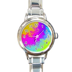 Grunge Radial Gradients Red Yellow Pink Cyan Green Round Italian Charm Watch by EDDArt