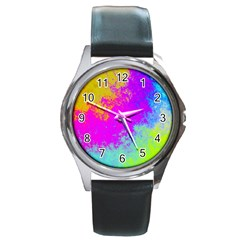 Grunge Radial Gradients Red Yellow Pink Cyan Green Round Metal Watch by EDDArt